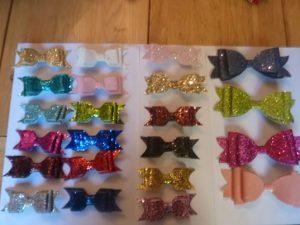 rigid glitter bows